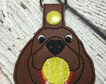 Dog with a Ball - Puppy -  Snap/Rivet Key Fob - DIGITAL Embroidery Design
