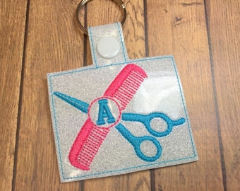 Scissors and Comb - Hair Dresser - Snap Tab - In The Hoop - Snap/Rivet Key Fob - DIGITAL EMBROIDERY DESIGN