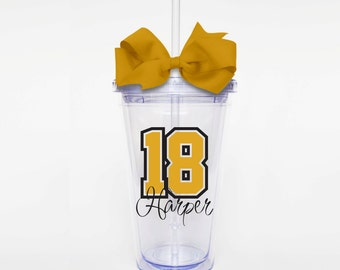 Sport Number and Name- Acrylic Tumbler Personalized Cup