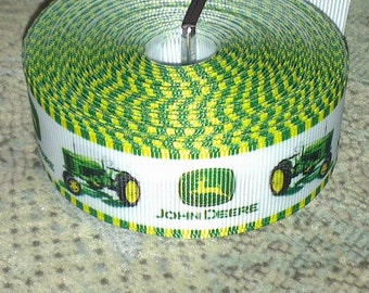 "Green Tractor/John Deere ribbon, 1"" (25mm) wide, grosgrain, crafting, hair accessory, hair bows, sewing"
