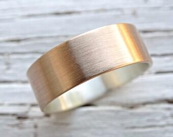 bronze wedding band, mens wedding ring, mens personalized ring bronze, mens ring silver bronze, rustic mens ring, ring anniversary gift