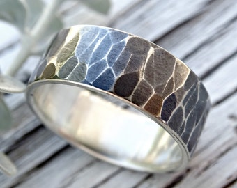 mens silver ring wedding band, modern engagement band rustic wedding ring, mens personalized ring, hammered silver ring, bold ring silver