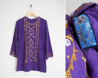 70s indian cotton mini dress / 1970s dress / Maharajah Relic