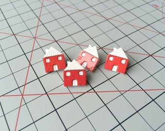 Red and White House Buttons 4 Pieces