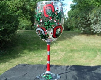 Ohio State Hand Painted Wine Glasses