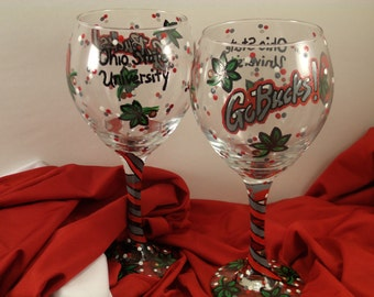 Set of 4 Ohio State wine glasses, OSU hand painted wine glass, Ohio State wine glass, Ohio painted wine glass, Ohio State University