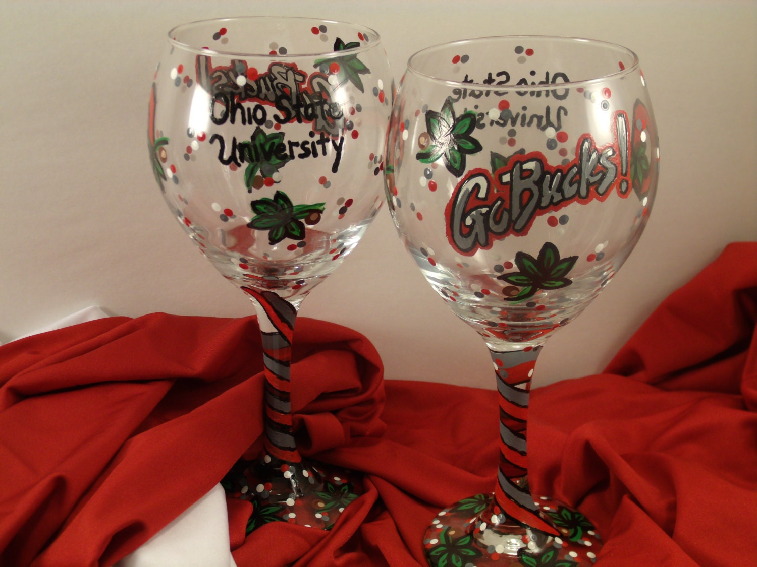 Ohio state osu hand painted wine glass go bucks ohio state Wine glasses to go