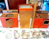 Doll Kitchen Appliances Large Nausau Refrigerator Stove Kitchen Sink Orange Copper Mid Century Easy Bake Pans Collectible Gift Item 1732B