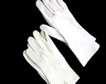 White Dress Gloves Two Pairs White Embroidered And Leatherette Size 6 or 7 Midcentury Collectible Gift Item 1763F