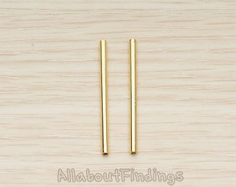 PDT1502-03-G // Glossy Gold Colored Plated Longer Tube Bead Spacer Charm, 2 Pc