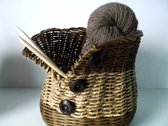 Handmade Seagrass Baskets : Knitting basket seagrass button up wicker by stormweave