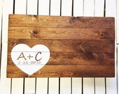 Rustic Wedding Guest Book Wood Sign, Guest Book Alternative With Heart Design