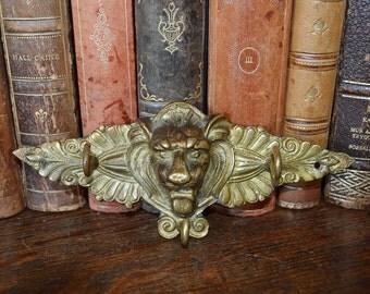 Antique German Bronze Lion Head Wall Hook Rack Hardware 3 Hooks Keys Jewelry