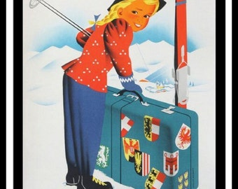 Winter in Austria, Little girl skiing, vintage travel poster, tourism, winter sports, girl with suitcase, blonde child with suitcase