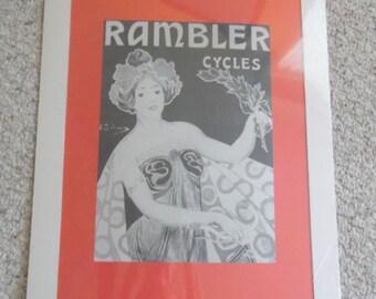Vintage Rambler Cycles/ bicycle advertising poster.