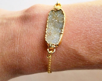 Natural Crystal Quartz Druzy With Brushed Toggle Bracelet
