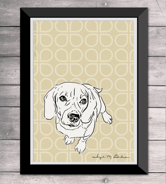 Beagle print dog wall art 5x7 room decor black and white pen for 5x7 room design