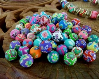 50 pce Handmade Polymer Clay Round Beads about 8mm