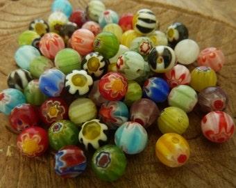 60 pce Viberant Multi-Coloured Round Millefiori Glass Beads 6mm