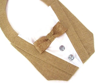 Dog Tuxedo Bandana in Burlap Rustic Wedding by Sew It Themes