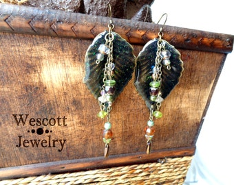Larger than Leaf Dangling Enamel Sparkling Leaf Earrings