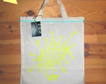 Fluo yellow Tote Bag geometric bag.