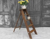 Vintage Step Ladder Rustic Pine  - Storage Library Books Bathroom Towels - Sturdy To Use!