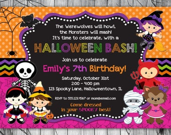 halloween invitation kids printable halloween birthday invitation costume party invitation halloween party invite