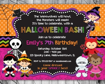 HALLOWEEN Invitation Kids, PRINTABLE Halloween Birthday Invitation, Costume Party Invitation, Halloween Party Invite 1st Birthday Girl Boy