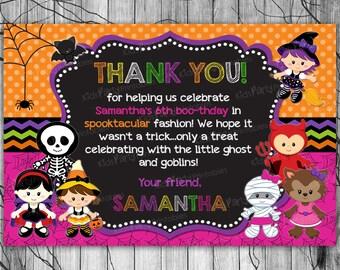 HALLOWEEN Birthday Thank You Card, PRINTABLE Halloween Thank You Card Note, Kids Halloween Thank You Card, Halloween Party Printables Tags