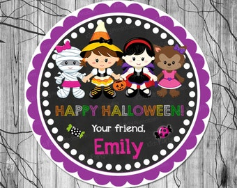 PRINTABLE HALLOWEEN Stickers, Halloween Treat Bag Sticker, Halloween Labels, Halloween Favor Tags, Halloween Party Supplies, 2.5 inch Circle