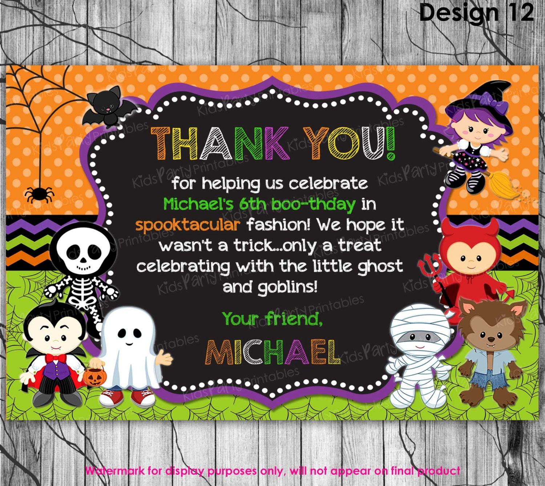 HALLOWEEN Thank You Card PRINTABLE Halloween Birthday Thank - Children's birthday thank you notes