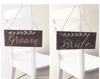 Bride and Groom Chair Wood Signs