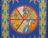 100% cotton blue peace of sign with sun shine Indian bedsheet throw wall hanging large dorm tapestry home decoration