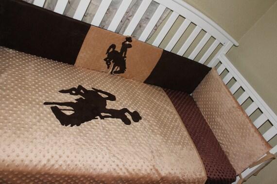 Crib Bedding Set Western Bucking Horse Brown 6 Piece