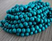 12mm Teal Blue Round Wood Beads - Dyed and Waxed - 15 inch strand