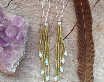 Long Fringe Seed Bead Earrings, Beaded Earrings, Boho Earrings, Boho Beaded Earrings, Long Dangly Earrings
