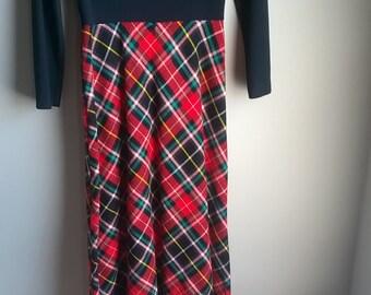 Black and tartan Full length 70s dress