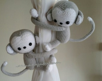 A pair of Monkeys Curtain Tiebacks,  (Both sides)  MADE TO ORDER.