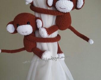 2 Dark Brown Monkeys Curtain Tiebacks, (Made to order)