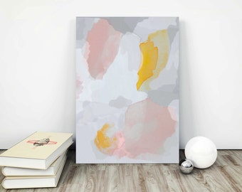 Gray and Pink Modern Art Print. Pink Watercolor Painting.  Gray Abstract Art Print. Pink and Gray Minimal Painting.
