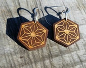 Geometric Bamboo and Walnut Earrings with Sterling Silver - Hemp Leaf Pattern