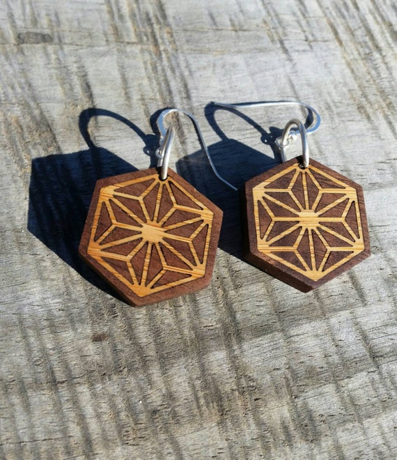 SALE - Geometric Bamboo and Walnut Earrings with Sterling Silver - Hemp Leaf Pattern