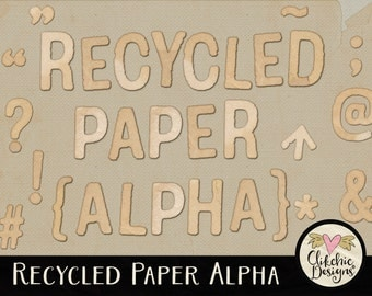 Digital Paper Alpha - Recycled Paper Alphabet Clipart - Digital Scrapbook Alpha Clip Art, Paper Alphabet, Digital Letters, Digital Alpha