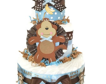 Monkey Designer Diaper Cake in Blue and Brown, Monkey Baby Shower Centerpiece