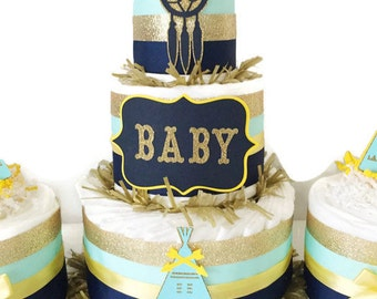 Tribal Baby Shower Diaper Cake in Navy, Mint and Gold, Tribal Party Decorations, Teepee Baby Shower Decor