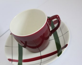 Tea Cup & Saucer Red Harlequinade by Nelson Ware Tea  c1950s  Mid Century Modern