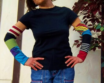 ARM COVERS Multicolor Upcycled T Shirt LIGHTWEIGHT Arm Warmers One Size Fits Most Hippie Patchwork