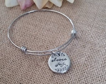 Personalized Bangle Bracelet-Adjustable Expandable Stainless Steel Wire Bangle Charm Bracelet-choose joy bangle
