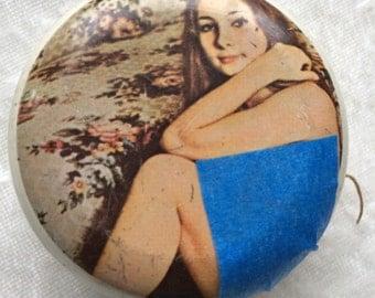 Retro Yo Yo Toy with Hippie Flower Child Metal 1960s 1970s  Adult Novelty Yoyo Mod Risqué Nude Model Pin Up Girl Art